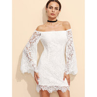 Spot Selling Women Sexy Dress Slash Neck Flare Sleeve Long Sleeves Lace Dress Spring Summer Women
