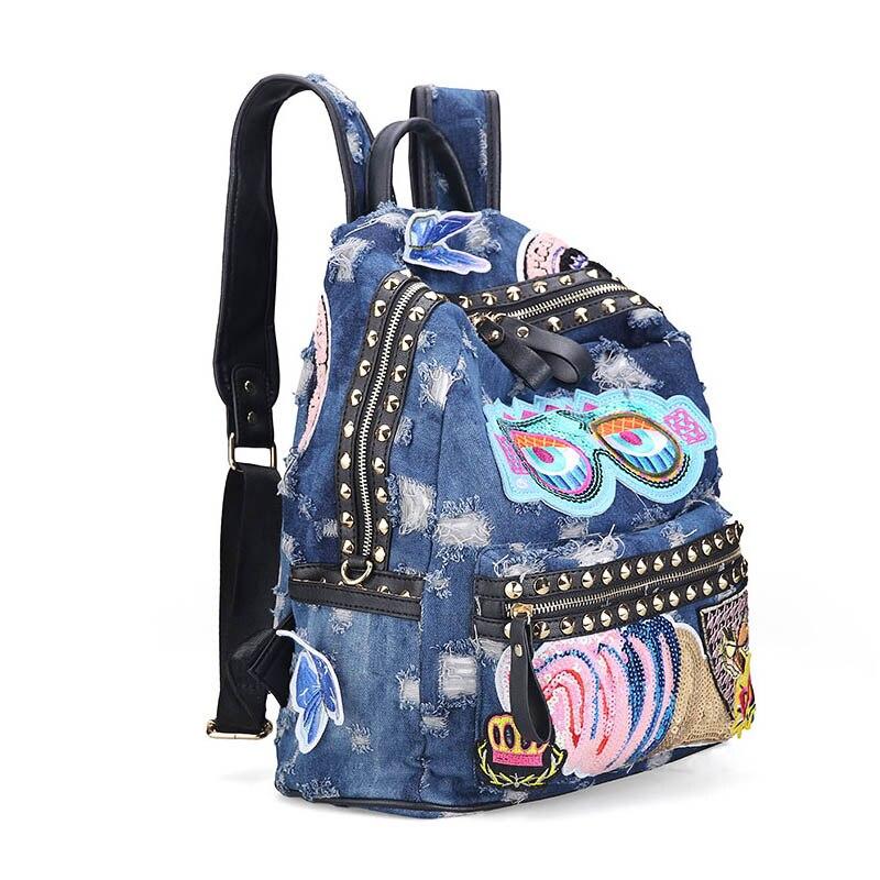 Ipinee Women's Denim Backpacks School Bags For Women Teenager Girls Shoulder Bag Large Travel Rucksack Bolsas Mochilas Femininas #3