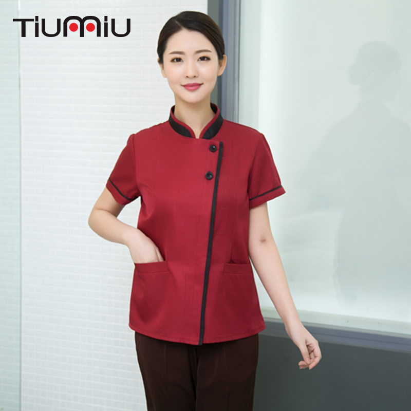 New Arrival Hotel Cleaning Short Sleeve Workwear Uniform Wrapping Cleaning Room Attendants Men Women Housekeeping Waiter Uniform