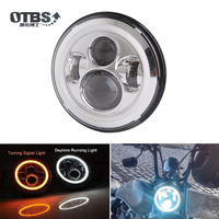 OTBS 7 Round LED Projector Headlight For Harley Motorcycle (7 Inch Led Headlamp With Halo)