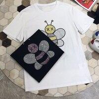 Летняя футболка для женщин короткий рукав пчелы бриллиантами футболки натуральный хлопок Женский топы корректирующие повседнев