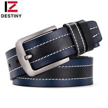 DESTINY Newest Designer Belts Men High Quality Male Genuine Leather Strap Famous Brand Belt Jeans Wedding Line Leisure ceinture