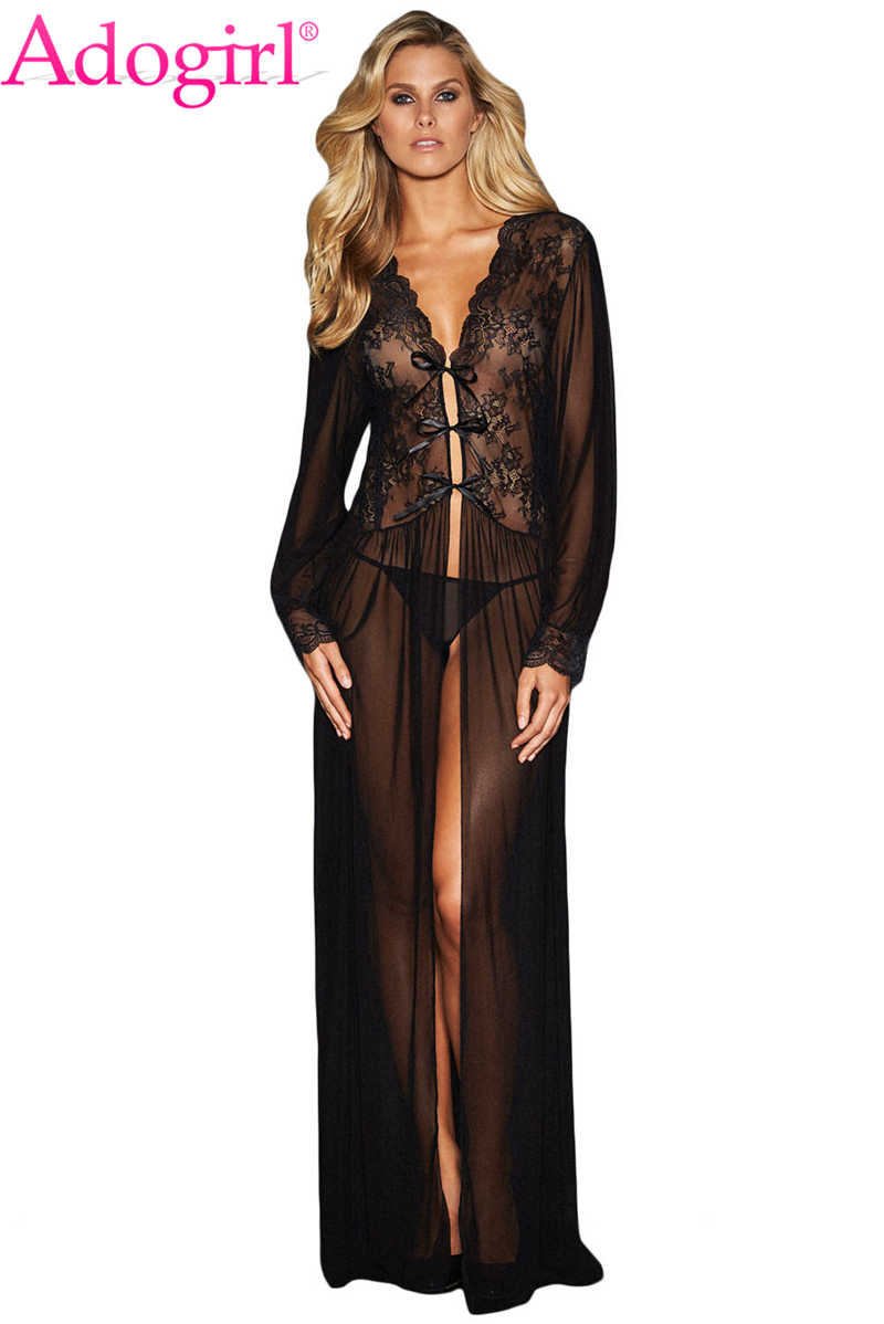 78194e14708f Detail Feedback Questions about Adogirl Sheer Long Sleeve Lace Robe with Thong  Women Sexy Valentine Lingerie Set Long Nightgown Cheap Erotic Sleepwear  Dress ...