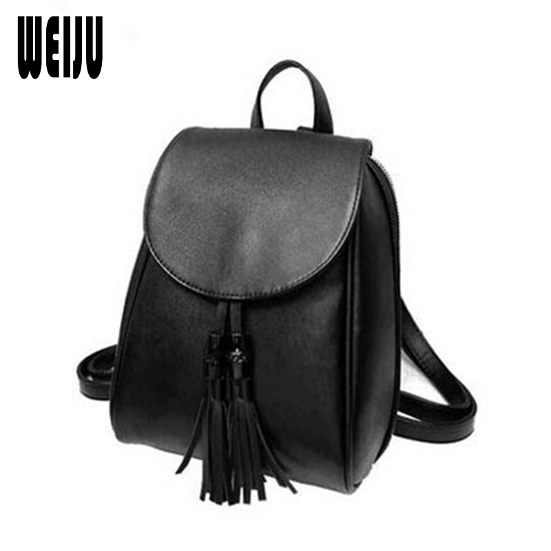 WEIJU Fashion Women Backpacks New 2017 Casual Pu Leather Tassel Backpack Ladies Bags Female Size 27*21*10cm YA0446