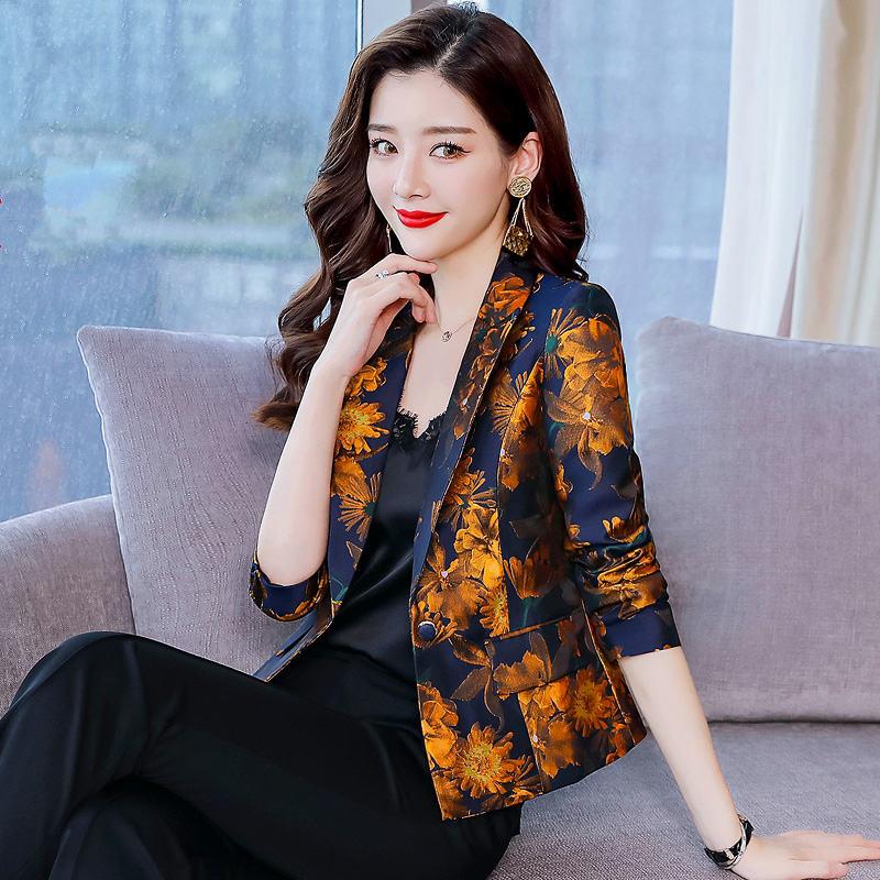 Women Spring Summer Print Blazers Suits Coat S Fashion Cardigan Long Sleeve Female Elegant Blazer Coat