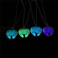 все цены на Wholesale Hollow Heart Shape Pendant Necklace Tree Of Life Luminous Jewelry Necklace For Women Glowing in the Dark Best Gift онлайн