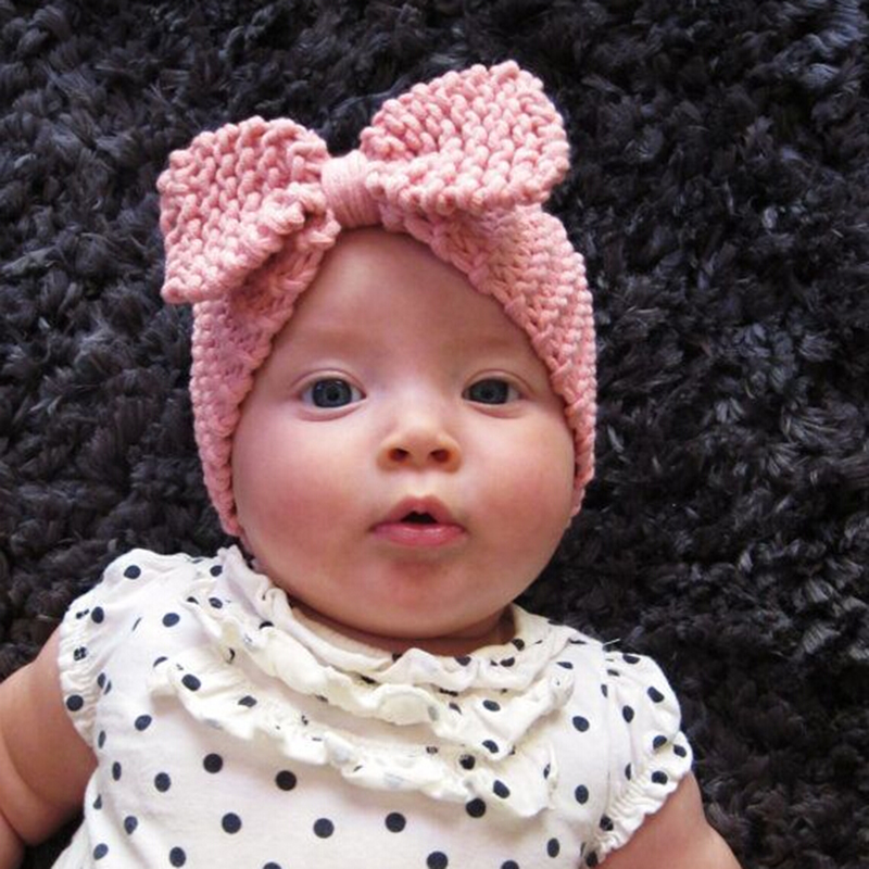 Sweet Newborn Turban Ear Warm Headband Crochet Knitted Bow