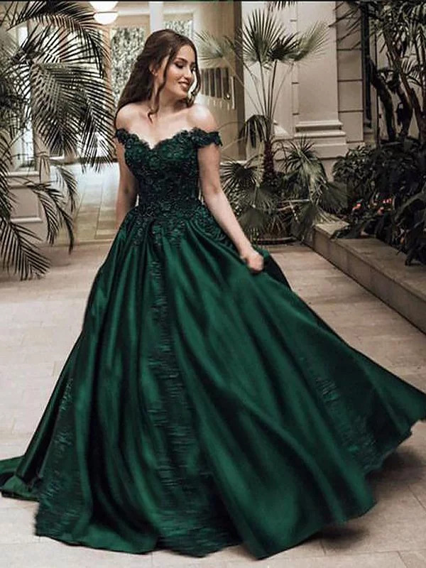 New Arrival Long Evening Dress 2019 V-Neck Cap Sleeve Court Train Appliques Satin Formal Dresses Party Gowns Robe De Soriee