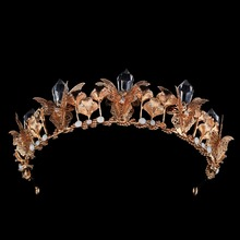 Shining Tiaras and Crowns Gold Head Crystal Design Wedding Hair Accessories For Bridal Queen Hairbands Jewelry
