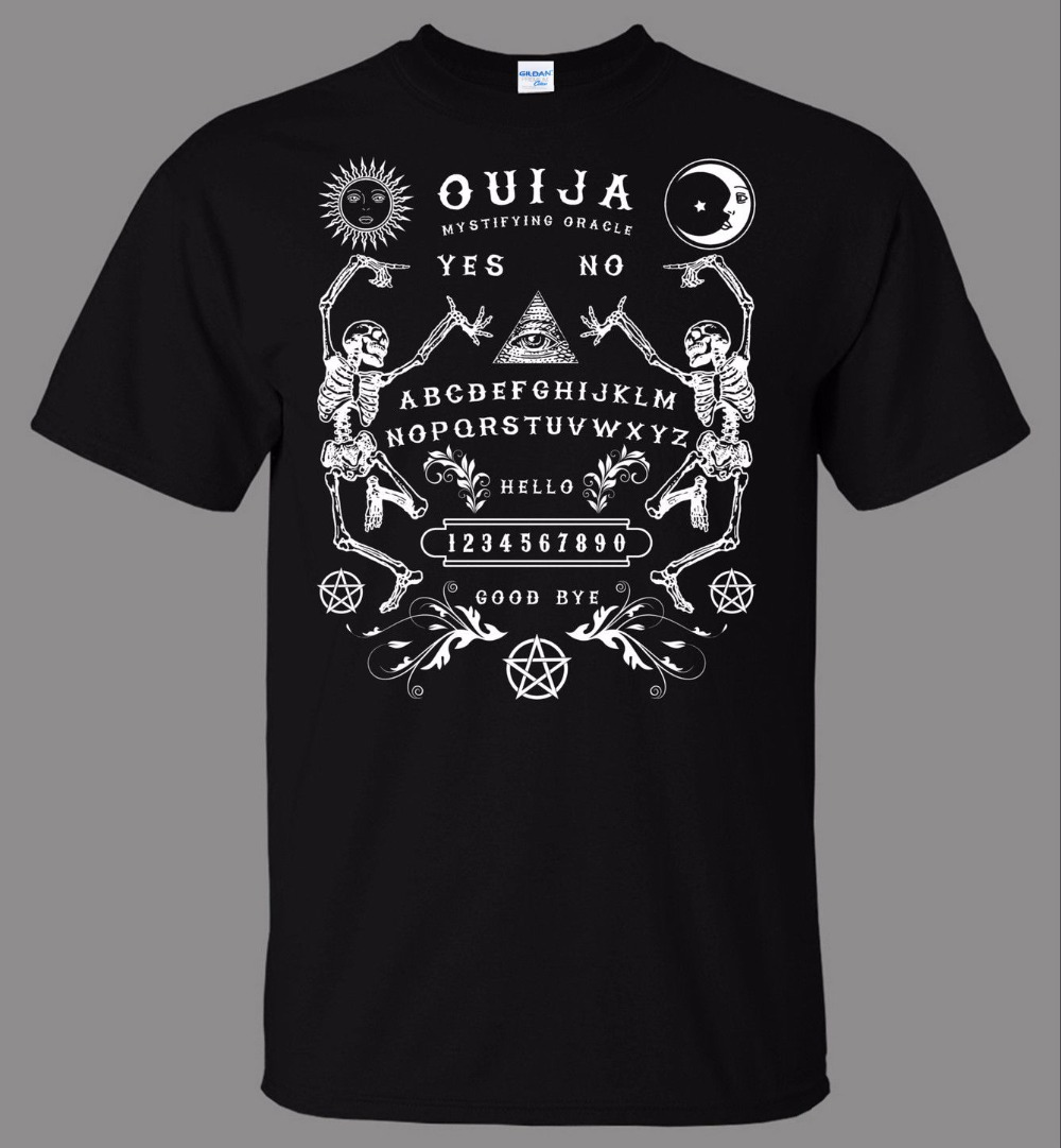 2018 New Arrival Men Cotton Men Tee Shirt High Quality Ouija Board Skeletons T Shirt Direct From Stockist Crossfit T Shirt