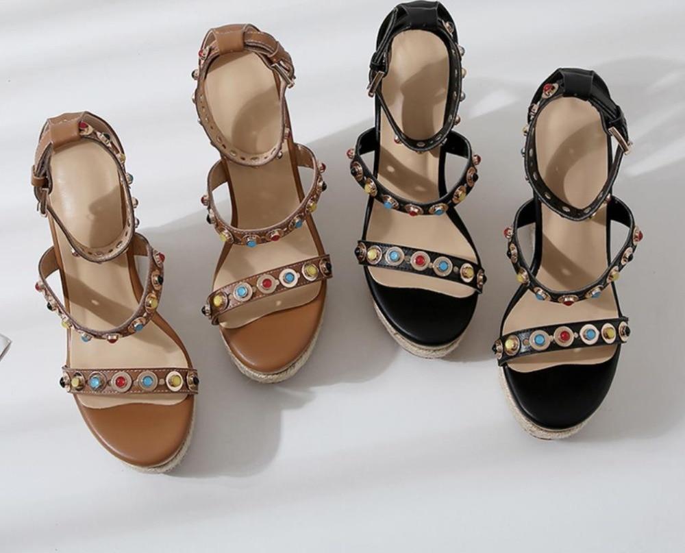 2019 Para El Plataforma Remache En Cm Super Negro Las Señoras Moda De Nuevos Cuero Sandalias 11 chocolate Versátil Verano Gruesa xnwq4PfT4