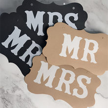 2pcs Wedding Decoration Mr Mrs Wedding Paper Board Ribbon Letter Garland Banner Photo Booth Bridal Shower Event Party Supplies(China)