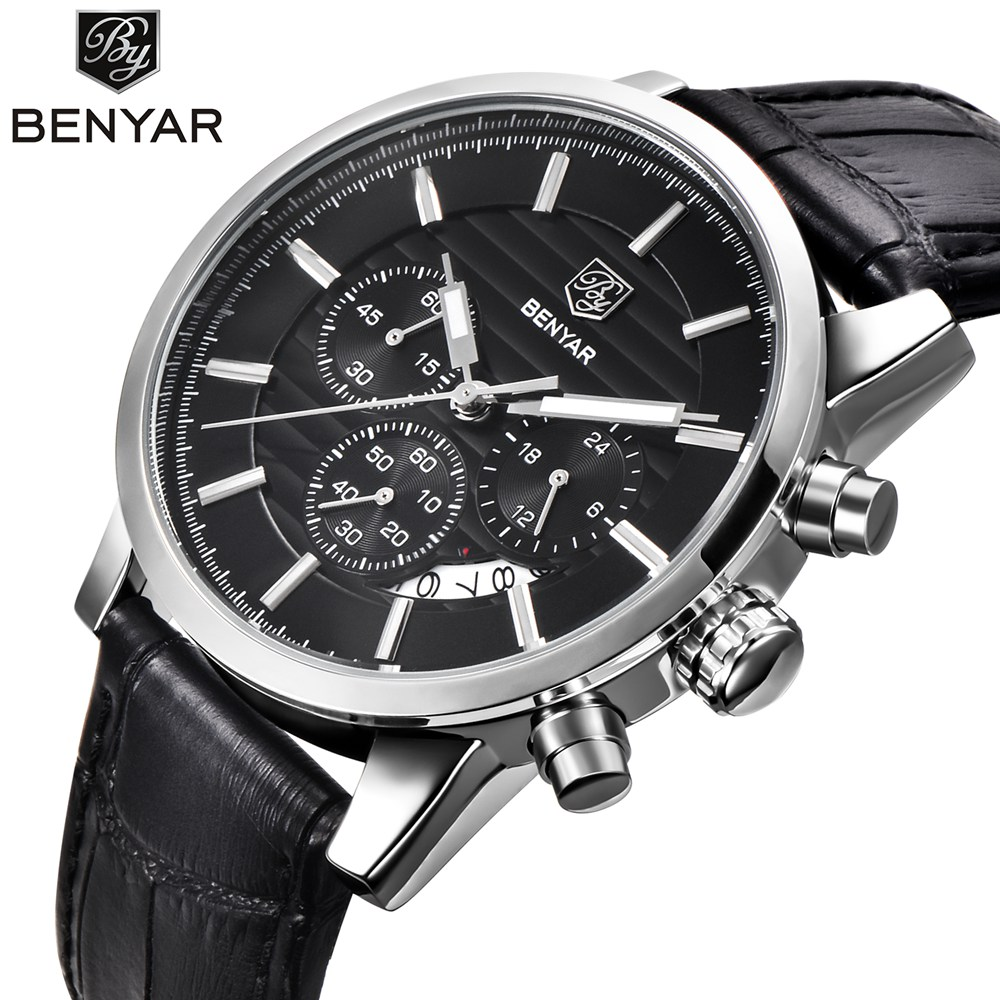 <font><b>BENYAR</b></font> Top Brand Luxury Men Business Waterproof Sport Chronograph Man Leisure Quartz Watch Men Waterproof Clock Relogio Masculin image