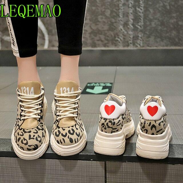 Леопардовые женские сникерсы на плоской платформе 2019 г. модная женская прогулочная обувь на плоской подошве со шнуровкой Женская повседневная обувь для папы