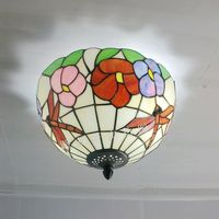12 cal piwonia Dragonfly sufitowe Tiffany kuchnia ogród dzieci sypialnia badania balkon lampy korytarz światła w Oświetlenie sufitowe od Lampy i oświetlenie na