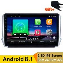 10 «2 + 32 г 2.5D ips Android 8,1 автомобильный DVD мультимедийный плеер gps для peugeot 2008 208 2013 2014-2016 аудио Радио Стерео навигация