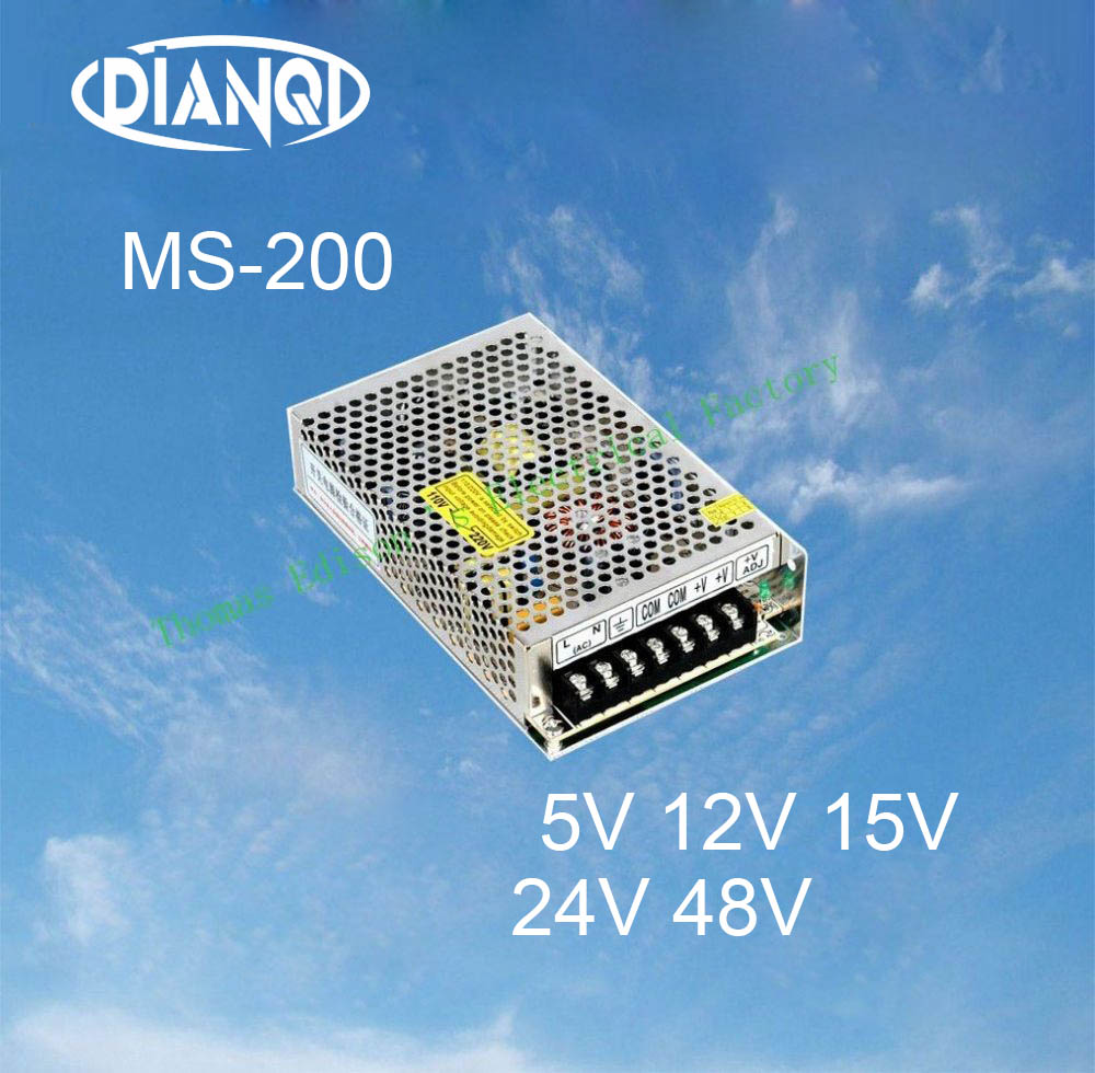 DIANQI 48V Mini Size Switching Power Supply adjustable 12V Output 200W ac to dc regulator for LED strip ms-200 15V 5V 24V free shipping 35w 24v 1 5a single output mini size switching power supply for led strip light ms 35 24