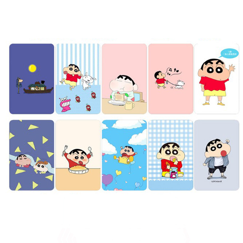 10 Pcs/set Cute Crayon Shinchan Stickers Toys Japanese Anime Souvenir Card Sticker DIY Decoration Self-Adhesive Classic Toy Игрушка
