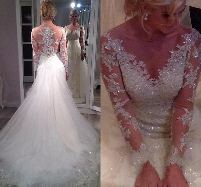 2017 Stunning Sheer Illusion Long Sleeves Wedding Dresses with ...