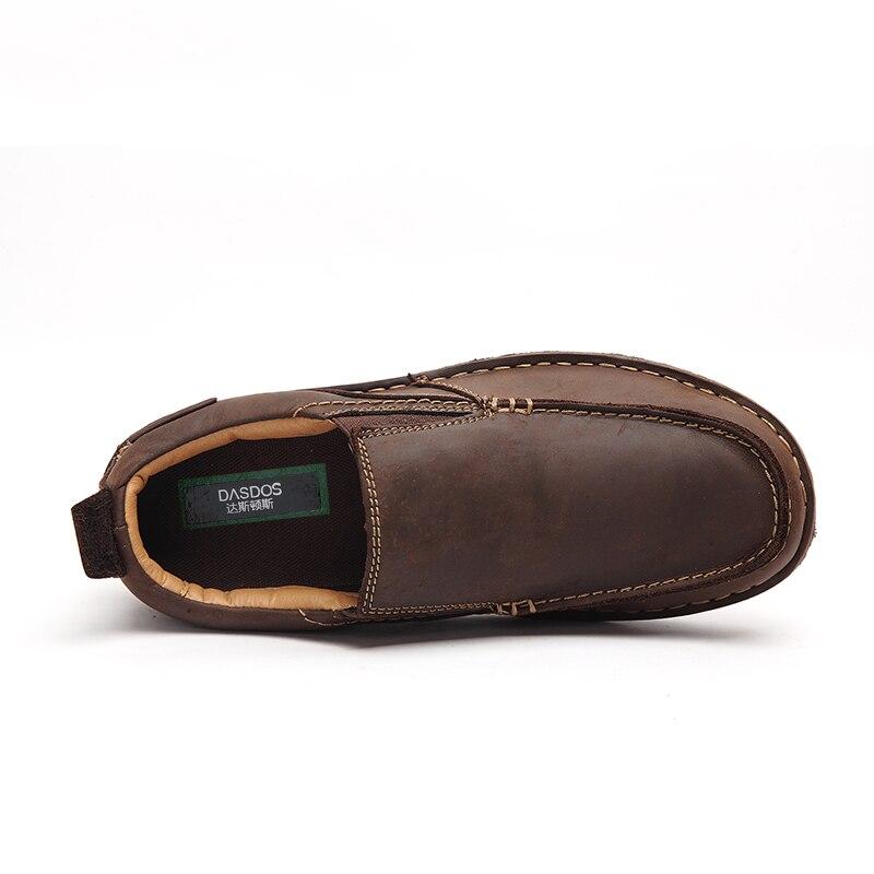 Noir Hommes Grande on Plat 45 Main Zapatillas À En Chaussures Slip 40 marron Cuir Hombre Casual Mode Véritable Mocassins Confortable De La Taille JKlc3uT15F