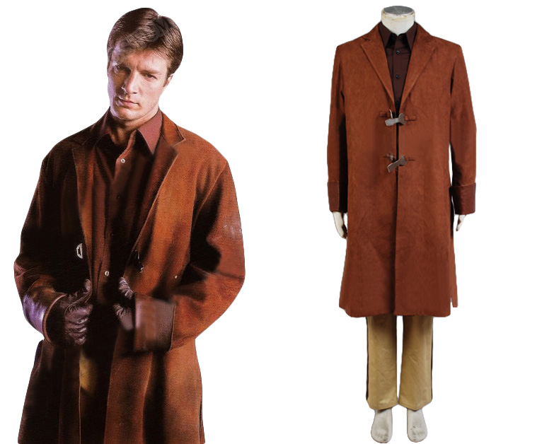 Высокое качество Malcolm Reynolds косплей костюм Взрослый коричневый плащ + рубашка + брюки + ремень + подтяжки ПОЛНЫЙ КОМПЛЕКТ Хэллоуин карнавал
