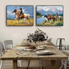Native Americans on Horse Abstract Oil Paintings Printed on Canvas 1