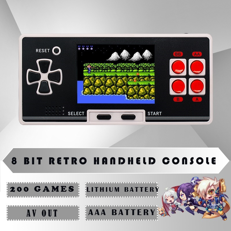 WOLSEN New 8 Bit Kids Classical Retro Classical Handheld Game Player Portable game console Pocket console With 200 games