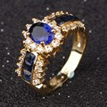 Suohuan Trendy female fashion Jewelry AAA Blue stone women ring Blue CZ diamond rings Gold plated Wedding Ring