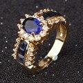 Suohuan aaa azul de piedra de joyería de moda femenina de las mujeres de moda anillo azul cz diamond anillos de oro anillo de bodas