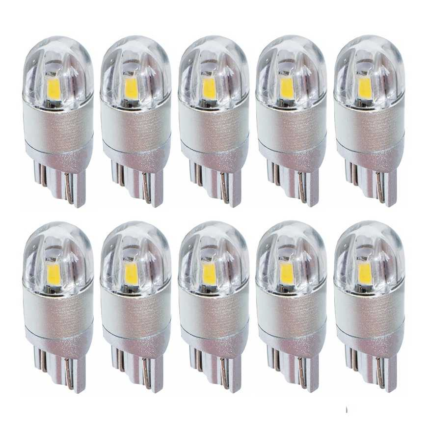 10PCS T10 W5W 501 LED Car Parking Light Super Bright 2 SMD 3030 LED Auto Reading Lamp License Plate Lights Wedge Tail Side Bulb