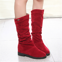 Hot Sale autumn winter woolen lady snow boots for women casual botas femiinas suede snow boots black orange brown women boots black snow