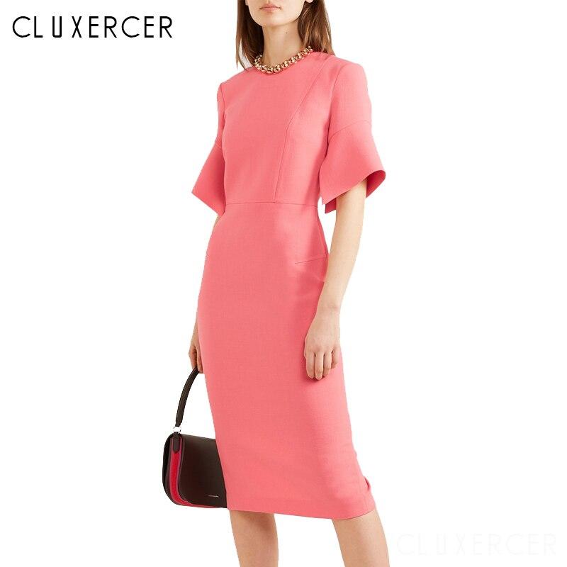 2019 Women Office Dress Ladies Pink Dress Working Girl Ruffle Zipper Evening Summer Bodycon Midi Party