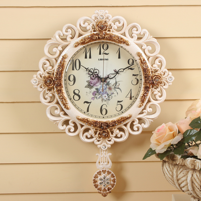 LISHENG Round Pendulum Wall Clock Modern Mute Watch Large Clocks Delicate Carved Patterns