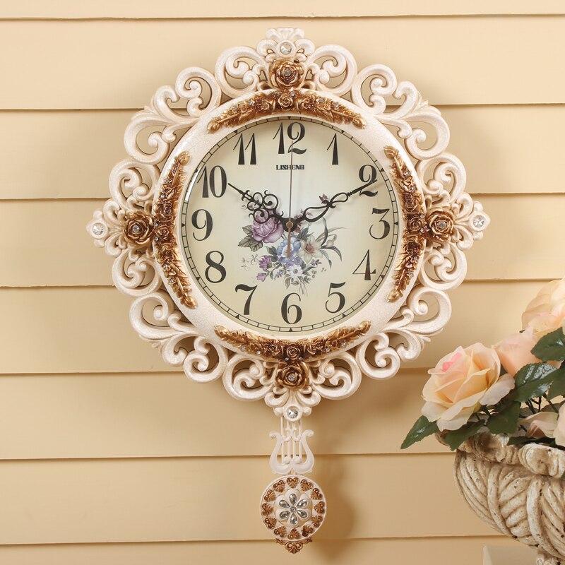 lisheng round pendulum wall clock modern mute watch large wall clocks delicate carved patterns - Pendulum Wall Clock