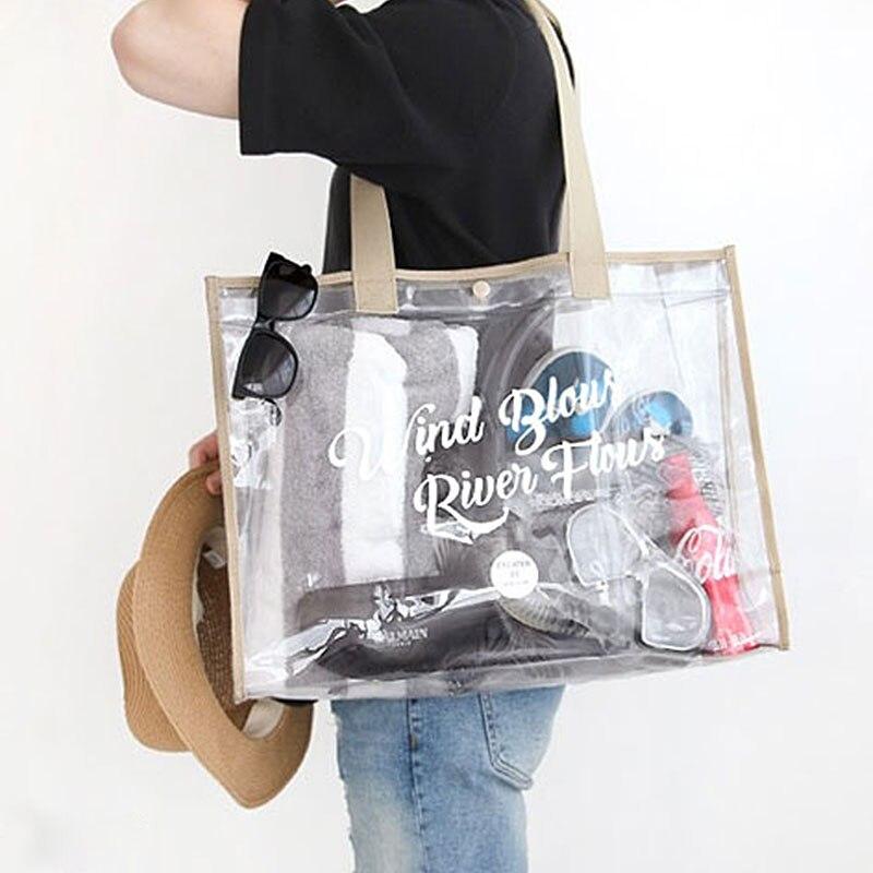 Summer Women Clear Hologram Transparent Plastic Handbag beach Shoulder bag Women Trend Tote Jelly Fashion PVC Clear Bag Funny