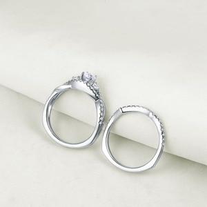 Image 2 - Newshe Solid 925 Sterling Zilveren Classic Trouwringen Voor Vrouwen Ronde Cut Aaa Cz Engagement Ring Set YR28003