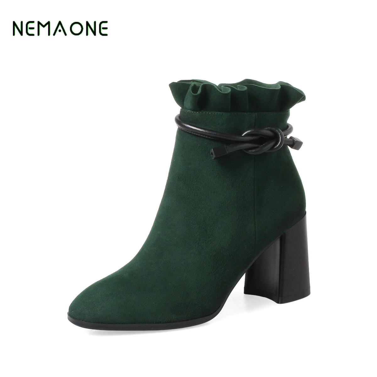 NEMAONE Women Ankle Boots Winter Genuine Nubuck Leather Black Thick Heel 12cm Super High Heels Platform Round toe Shoes stylish patterned flip open glow in the dark pu case w holder card slot for iphone 5 5s 5c page 8