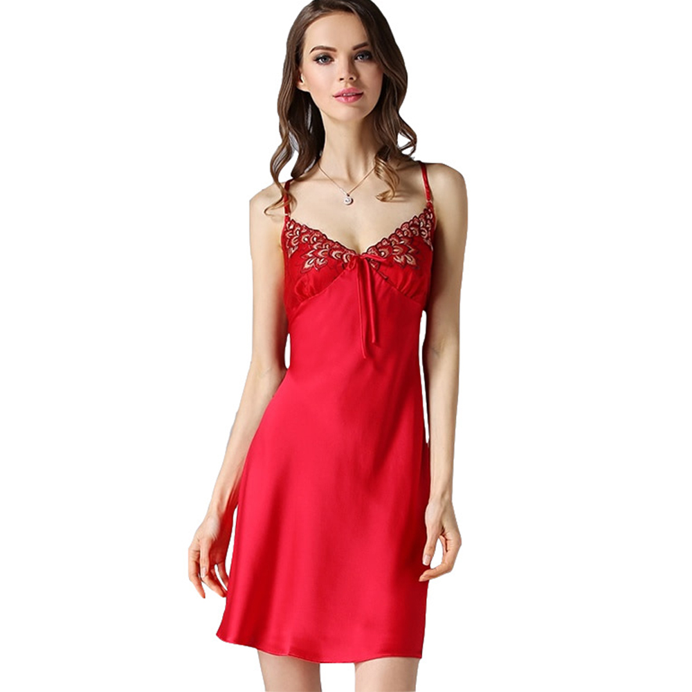 Silk Women Nightgowns Sexy Nightwear Lace Embroidered Lingerie Nighty Dress