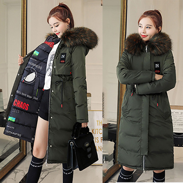 7a5dd84979e1b Feminine Long Coat Women s Parks Ladies Clothing Plus Size Tunic Women Warm  Jacket Korean Style Winter