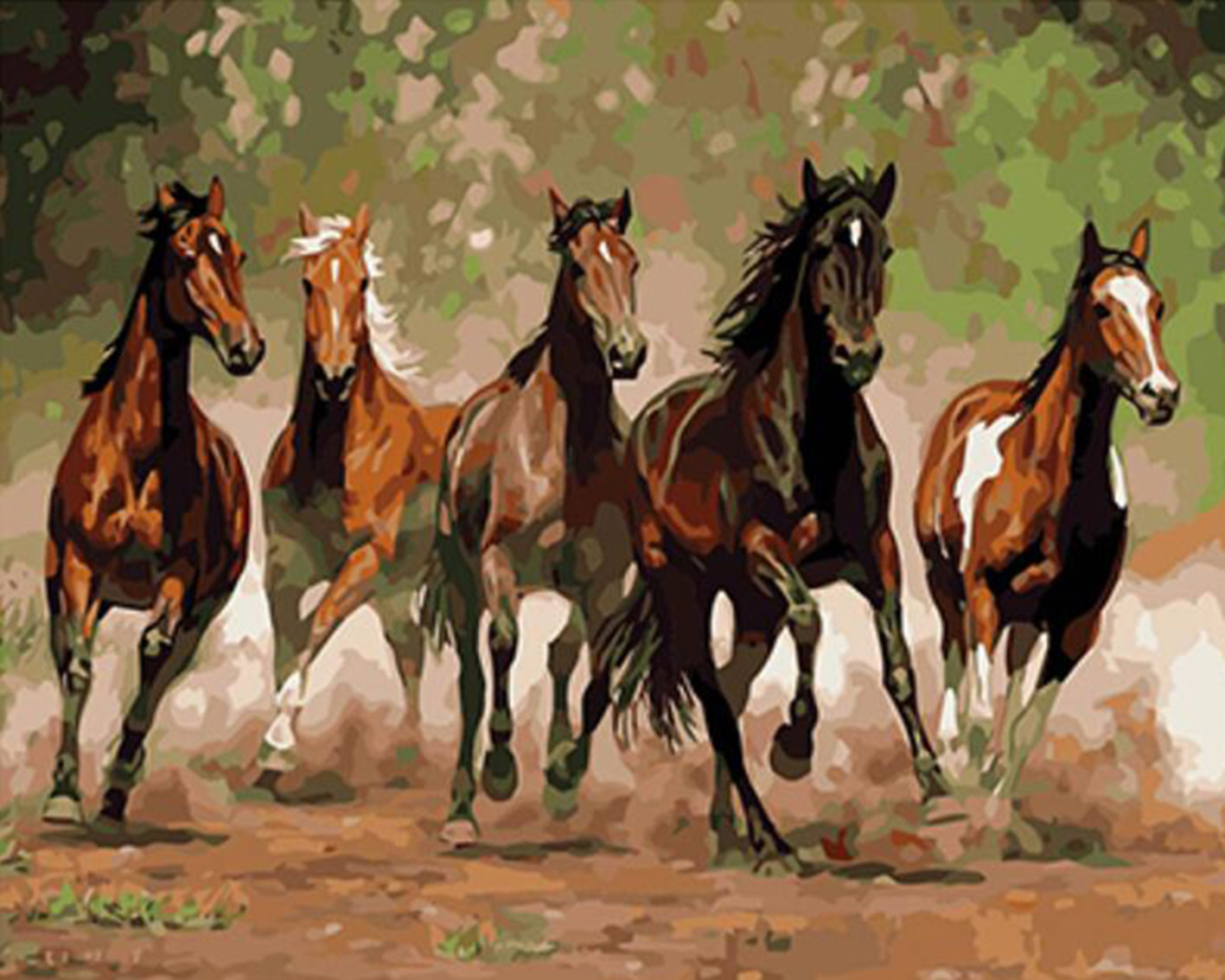 Frameless Picture Running horses Painting By Numbers Modern Wall Art Handpainted Oil Painting On Canvas For Home Decoration in Paint By Number from Home Garden