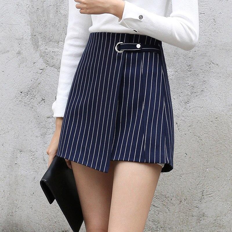 33986402e6 Yichaoyiliang Vertical Striped High Waist Irregular Mini A line Skirt  School Girls Vintage Navy blue Package Skirt Winter Wear-in Skirts from  Women's ...