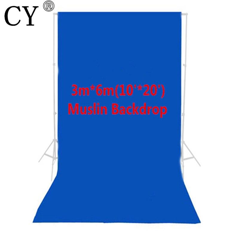 Photo Studio photographie 10ft x 20ft/3m x 6m Studio fond solide mousseline toile de fond bleu 100% coton haute qualité PSB4B