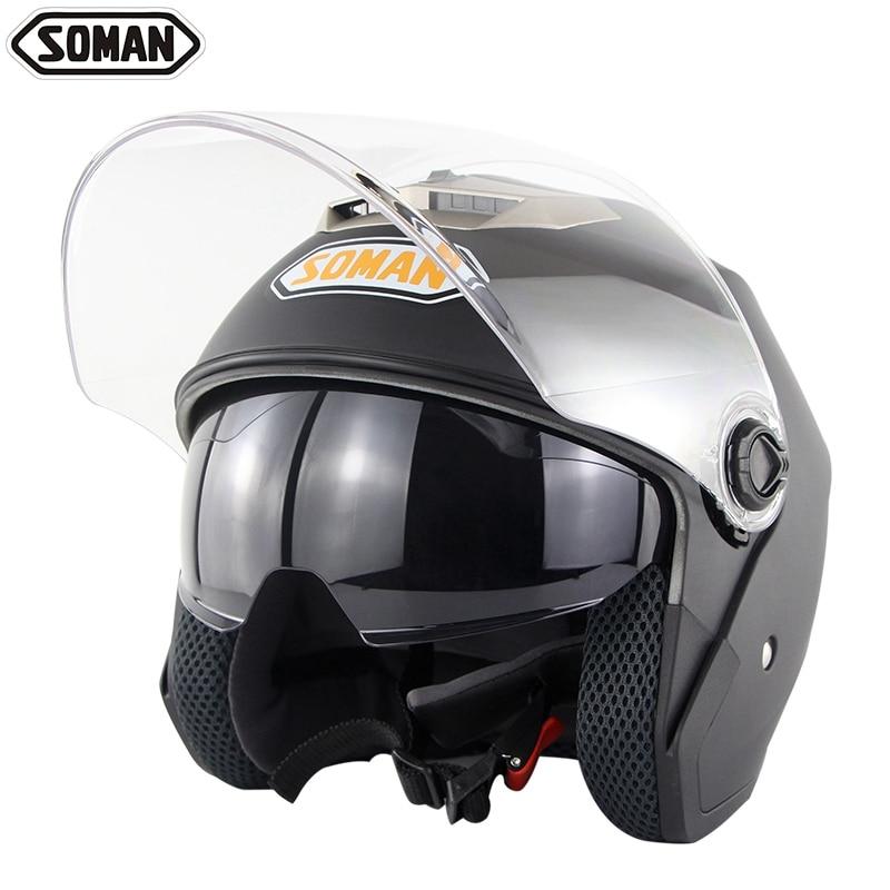 DOT утверждения двойной, мотоциклетный шлем Chopper Винтаж Casco Moto велосипеда открытым лицом скутер шлемы шлем Саман 517
