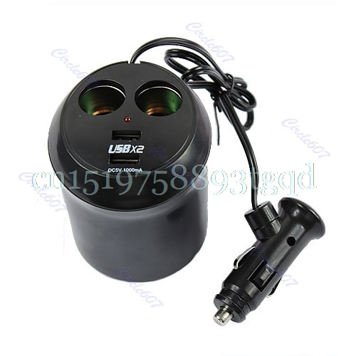 Car Cigarette Lighter Dual USB Charger Socket Cup Holder Adapter Power Supply T518
