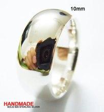 Sterling Silver Obyčejné kroužky 10MM ručně vyřezávané vyzvánění všech velikostí