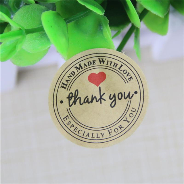 Red love thank you self adhesive stickers kraft label thank you stickers gifts custom round