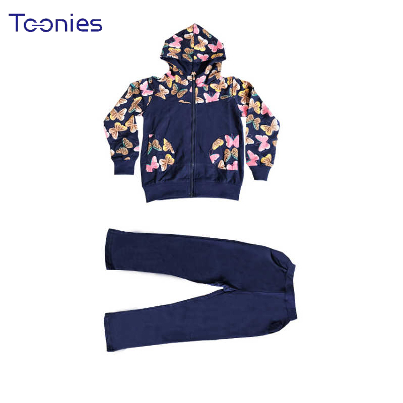 2pcs Girls Pants Suit Fashion Printed Girl Sportswear Hooded Children Suits Child School Clothing Sets Long Sleeves Kids Clothes