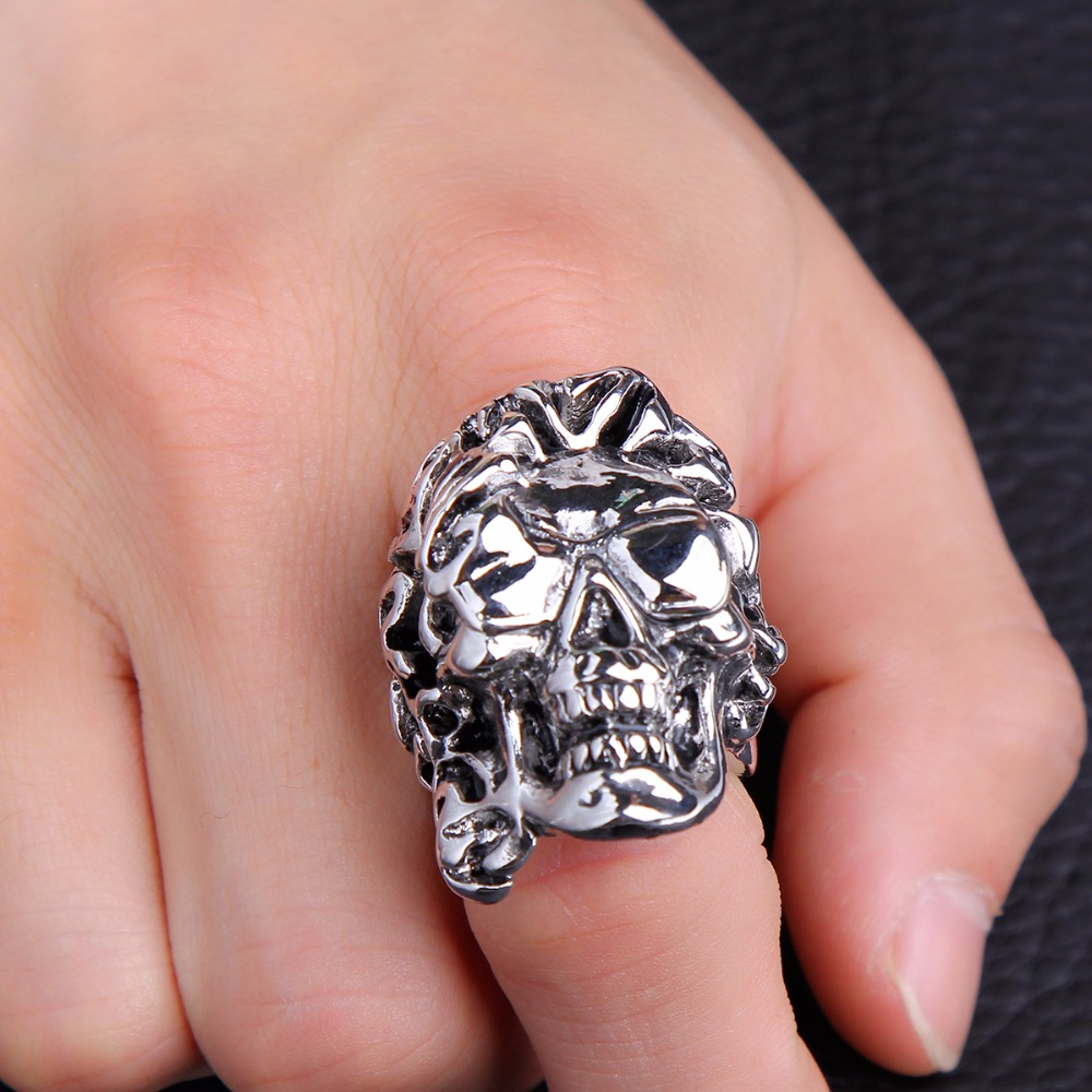 Father\'s Day Gift Hip Hop Rock Punk Skull Adjustable Silver Plated ...