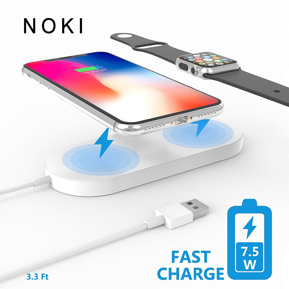 2 in 1 Wireless charger USB Fast Charging Phone Adapter for apple watch 3 iwatch 1 2 iphone X 8 Plus Samsung S9 S8 note 7 8 qi wireless charger 10000mah power bank for iphone x 8 plus samsung note 8 s9 s8 plus s7 portable powerbank phone charger
