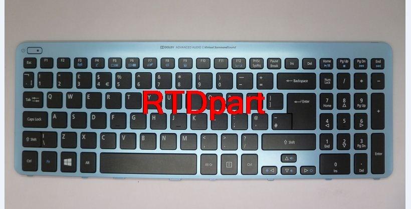 Laptop Keyboard For ACER Aspire V5-571 MS2361 US UI NK.I1717.07X 9Z.N8QBW.K1D NSK-R3KBW1D Black&backlight&Blue Frame